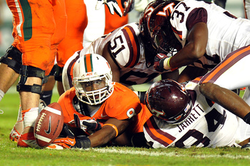 Johnson scores a touchdown against Virginia Tech.