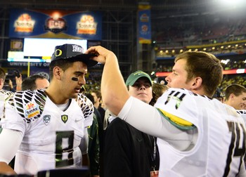 Marcus Mariota after winning the Fiesta Bowl.