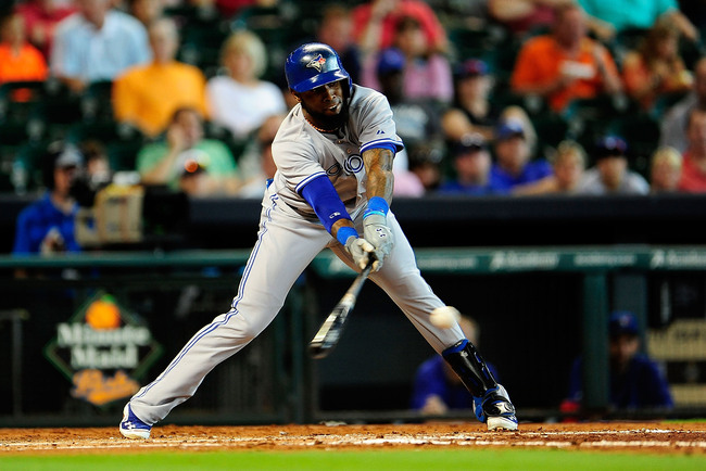 HOUSTON, TX - AUGUST 25:  Jose Reyes #7 of the Toronto Blue Jays bats in the third inning during a game against the Houston Astros at Minute Maid Park on August 25, 2013 in Houston, Texas.  (Photo by Stacy Revere/Getty Images)