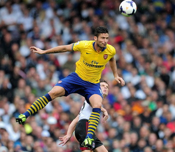Leaps and bounds: Giroud's season has got off to an excellent start with three goals in two games.