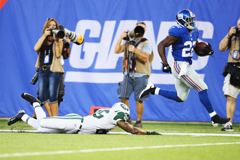 RB David Wilson scored an 84-yard TD against the Jets.