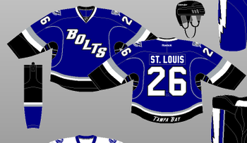 This is one of the sharpest jerseys in Lightning history. The diagonal nickname and sharp colors make it very easy for fans to read the names.