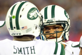 Whether it's Geno Smith (left) or Mark Sanchez (right), INTs are in the future.