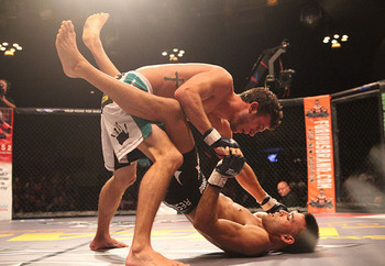 Matt Hobar (top) defeats Angel Huerta at Legacy Fighting Championship 21 in July. (Photo credit: Robert Lopez/Sherdog)