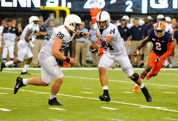 QB Christian Hackenberg hands it off