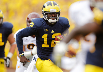 Devin Gardner ran for two touchdowns against Central Michigan, but he also threw two interceptions.