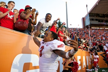 Eastern Washington sophomore quarterback Vernon Adams celebrating after upsetting Oregon State on Aug. 31.