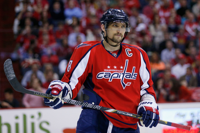 WASHINGTON, DC - APRIL 25: Alex Ovechkin #8 of the Washington Capitals stakes on the ice against the Ottawa Senators during the second period at Verizon Center on April 25, 2013 in Washington, DC.  (Photo by Rob Carr/Getty Images)