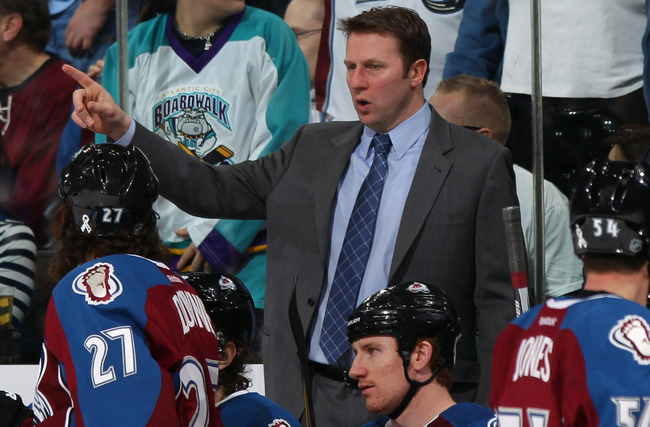 DENVER, CO - MARCH 03:  Head coach Joe Sacco of the Colorado Avalanche leads his team against the Pittsburgh Penguins at the Pepsi Center on March 3, 2012 in Denver, Colorado. The Penguins defeated the Avalanche 5-1.  (Photo by Doug Pensinger/Getty Images