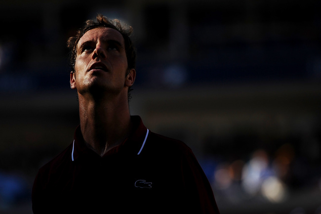 NEW YORK, NY - SEPTEMBER 04:  Richard Gasquet of France looks on during his men's singles quarter-final match against David Ferrer of Spain on Day Ten of the 2013 US Open at USTA Billie Jean King National Tennis Center on September 4, 2013 in the Flushing