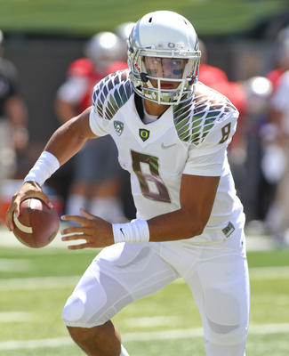 Oregon quarterback Marcus Mariota against Nicholls St on Aug. 31.