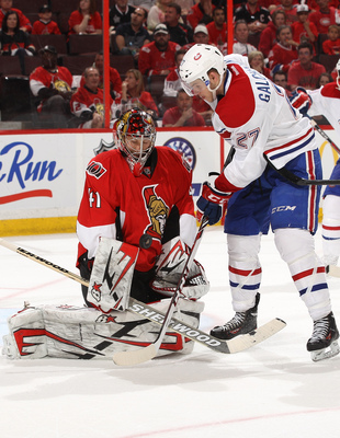 Montreal Canadiens forward Alex Galchenyuk in close against Ottawa Senator Craig Anderson.