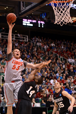 Alex Kirk scored 22 points in New Mexico's NCAA tournament upset loss to Harvard.