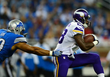 Adrian Peterson rushed 18 times for 93 yards and a touchdown to accompany four receptions for 18 yards and a touchdown vs. Detroit.