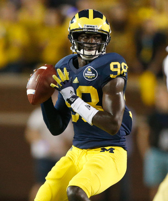 Michigan junior quarterback Devin Gardner wearing No. 98 against Notre Dame on Sept. 7 in honor of Tom Harmon.