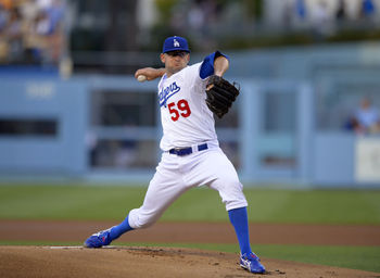 Dodger pitcher Stephen Fife pitching in Dodger Stadium