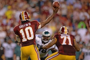 Robert Griffin III's posture showed his unbalanced throwing motion in Week 1 against the Philadelphia Eagles.