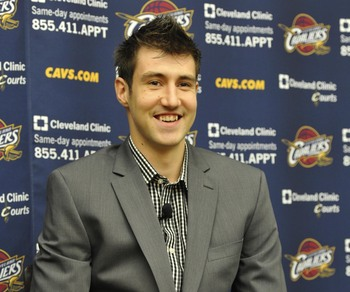 Jul 23, 2013; Independence, OH, USA; Cleveland Cavaliers first round draft pick Sergey Karasev during a press conference at Cleveland Clinic Courts. Mandatory Credit: David Richard-USA TODAY Sports