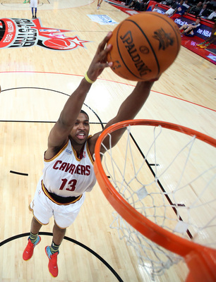 HOUSTON, TX - FEBRUARY 15:  Tristan Thompson #13 of the Cleveland Cavaliers and Team Chuck dunks the ball  in the first half in the BBVA Rising Stars Challenge 2013 part of the 2013 NBA All-Star Weekend at the Toyota Center on February 15, 2013 in Houston