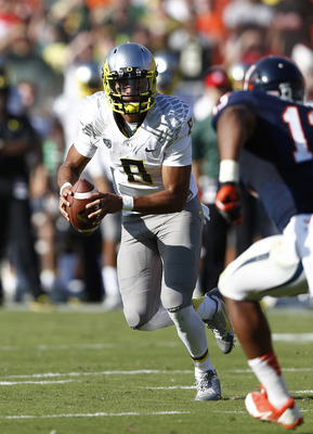 Oregon sophomore quarterback Marcus Mariota against Virginia on Sept. 7