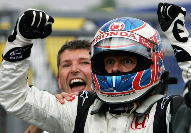 BUDAPEST, HUNGARY - AUGUST 6:  Jenson Button of Great Britain and Honda Racing celebrates his first ever Formula One victory alongside Nick Fry after winning the Hungarian Formula One Grand Prix at the Hungaroring on August 6, 2006 in Budapest, Hunagary.