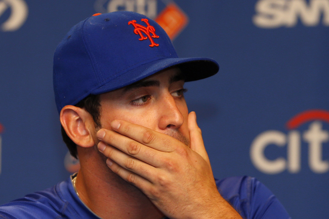 NEW YORK, NY - AUGUST 26: Pitcher Matt Harvey #33 of the New York Mets talks to the media about his partially torn ulnar collateral ligament (UCL) on August 26, 2013 at Citi Field in the Flushing neighborhood of the Queens borough of New York City. (Photo