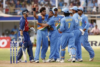 Sreesanth claims a wicket against England in 2006 as he captures 6-55.