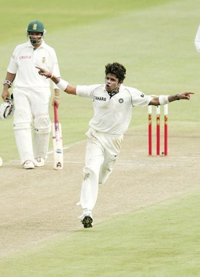 Sreesanth captures a wicket during India's tour of South Africa in 2006.