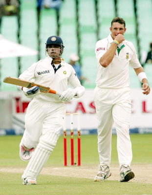 Sreesanth faces up to South Africa's Andre Nel.