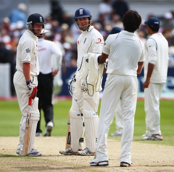 Sreesanth clashes with England captain during the second Test at Trent Bridge in 2007.