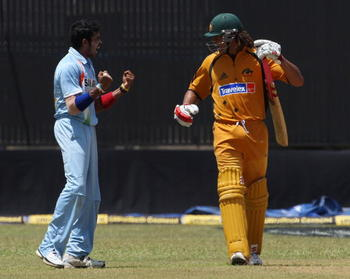 Sreesanth and Andrew Symonds clash during Australia's ODI tour of India in 2007.