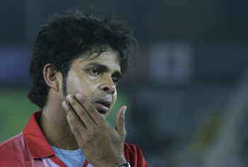 Sreesanth during the 2010 IPL tournament.