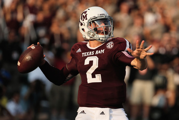 Sophomore quarterback Johnny Manziel against Alabama on Sept. 14.