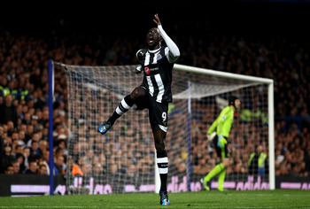 Papiss Cisse celebrates scoring in the win at Chelsea just days after a 4-0 defeat at Wigan.