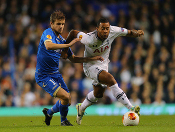 Mousa Dembele taking the game to Tromso.