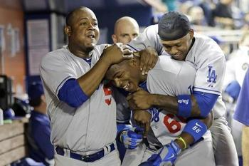 The 2013 Most Cuddly All Stars: Juan Uribe, Yasiel Puig and Hanley Ramirez