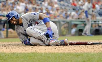 Matt Kemp after sliding awkwardly into home at Washington
