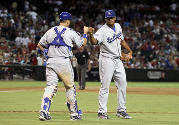 A.J. Ellis and Kenley Jansen, dapping