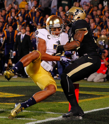 Notre Dame made a big play through the air on this play, which had to be reviewed.