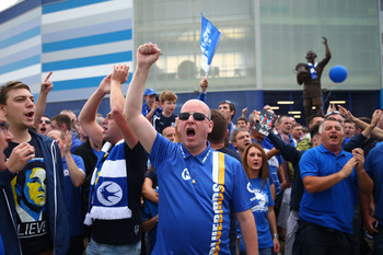 Cardiff City fans after their recent win over Manchester City.