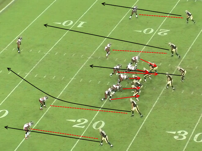 Jimmy Graham's ability to line up wide adds a new element to the Saints' offense. Courtesy of SB Nation.