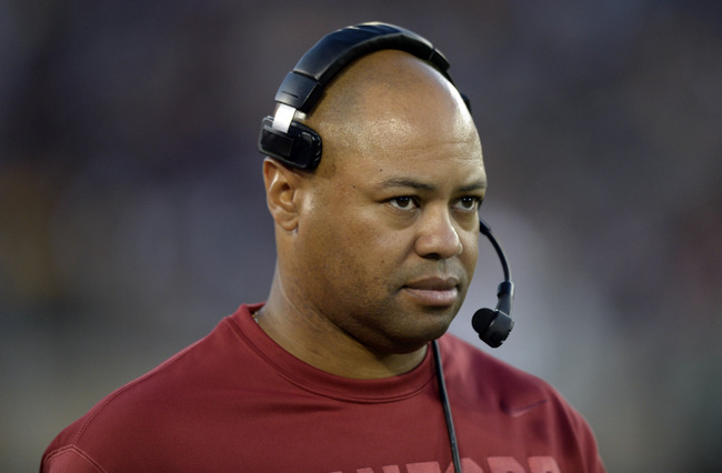 Sep 21, 2013; Stanford, CA, USA; Stanford Cardinal head coach David Shaw watches his players from the sidelines during the fourth quarter at Stanford Stadium. Stanford won 42-28. Mandatory Credit: Bob Stanton-USA TODAY Sports