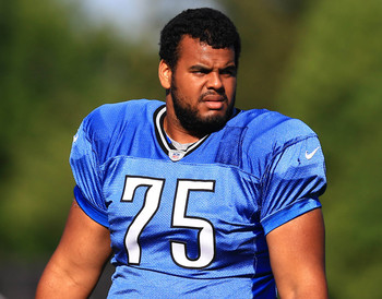 Jul 30, 2013; Allen Park, MI, USA; Detroit Lions guard Larry Warford (75) during training camp at Detroit Lions training facility. Mandatory Credit: Andrew Weber-USA TODAY Sports