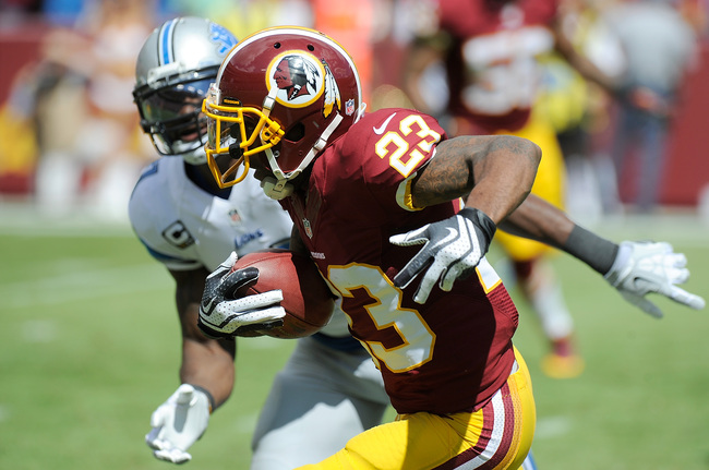 LANDOVER, MD - SEPTEMBER 22:  DeAngelo Hall #23 of f the Washington Redskins returns an interception for a touchdown in the first quarter against the Detroit Lions at FedExField on September 22, 2013 in Landover, Maryland.  (Photo by Greg Fiume/Getty Imag