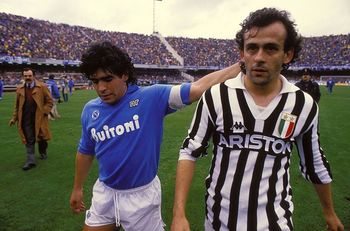 Diego Maradona salutes a (decidedly more trim) Michel Platini after a Serie A match in the 1986-87 season.