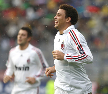 Milan's traditional white away kit is probably not the most flattering of things for Ronaldo to wear.