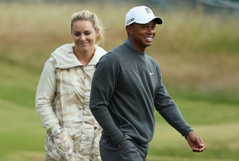 Lindsey Vonn walked Muirfield with Tiger Woods.