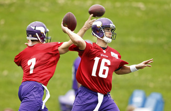 The battle is on between Christian Ponder (left) and Matt Cassel to be Minnesota's quarterback.