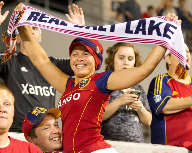 Aug 24, 2013; Sandy, UT, USA; A Real Salt Lake fan reacts to a goal during the second half against the Columbus Crew at Rio Tinto Stadium. Real Salt Lake won 4-0. Mandatory Credit: Russ Isabella-USA TODAY Sports