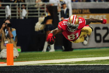 Anquan Boldin soars for a touchdown against the Rams.